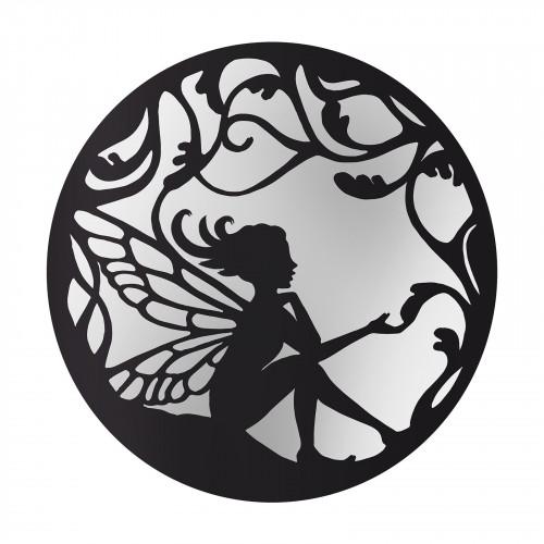No.PM5066BK Black Metal Round Fairy Silhouette Mirror