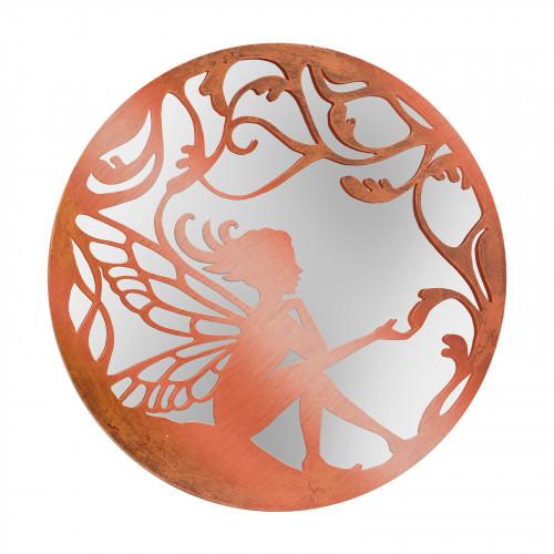 No.PM5066BZ Bronze Metal Round Fairy Silhouette Mirror