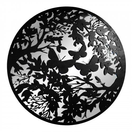 No.PM5120 Large Black Metal Round Butterfly Silhouette Mirror