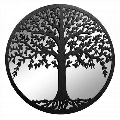 No.PM5121 Large Black Metal Round Tree of Life Silhouette Mirror