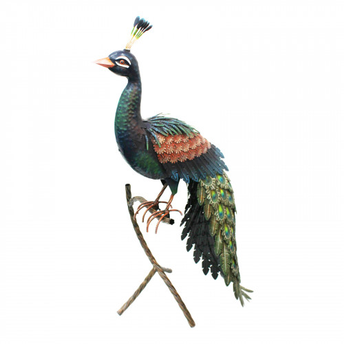 No.PQ1835 Large Metal Peacock on Standing Perch