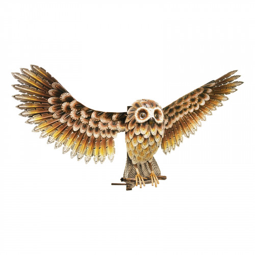 No.PQ1840 Wall Mounted Metal Brown Owl with Wings Out