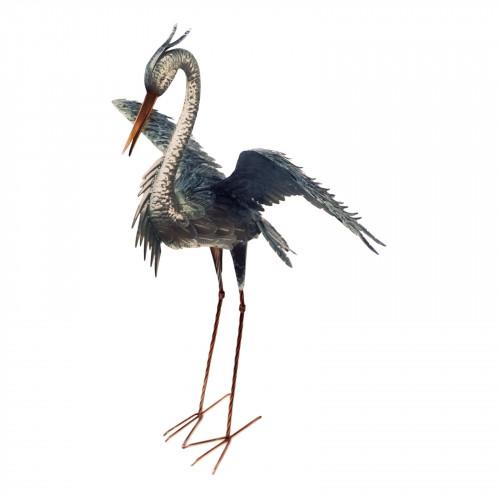 No.PQ1859 Large Metal Heron Displaying