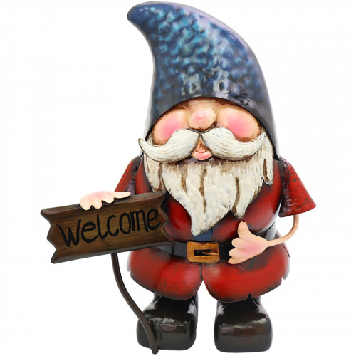 Metal Gnome with Welcome Sign PQ5015
