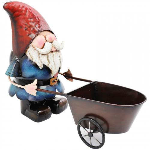 Metal Gnome with Wheelbarrow Planter PQ5020