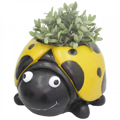 Ladybird Planter (Frost Proof Polyresin) - Yellow