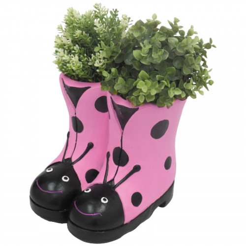 No.PR3254 Ladybird Boots Planter (Frost Proof Polyresin) - Pink
