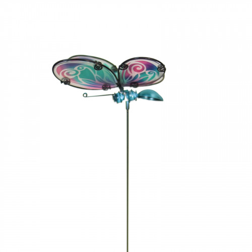 No.PS4014 Glass Butterfly Stake - Purple & Green Wings