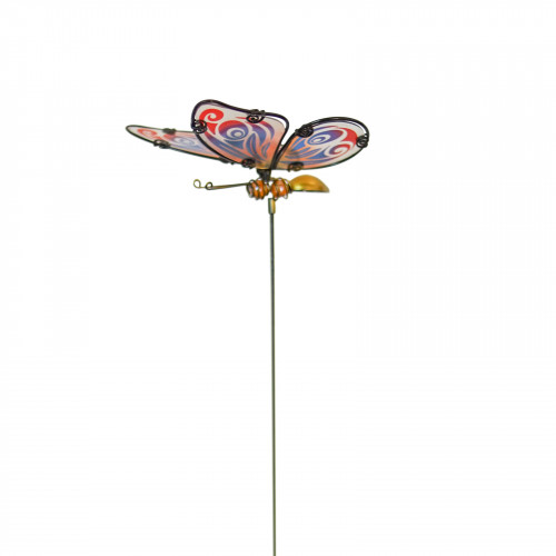 No.PS4015 Glass Butterfly Stake - Red & Blue Wings