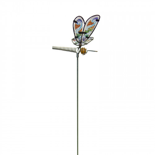 No.PS4020 Glass Dragonfly Stake - Blue