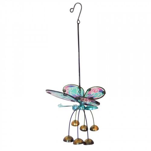No.PT4014 Glass Wing Fancy Butterfly Bobbin' Bells - Blue