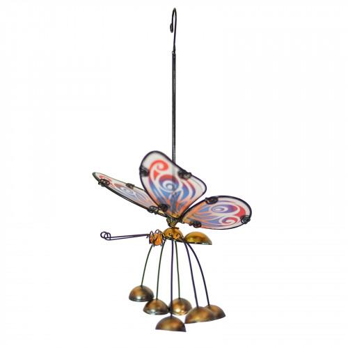 No.PT4015 Glass Wing Fancy Butterfly Bobbin' Bells - Gold