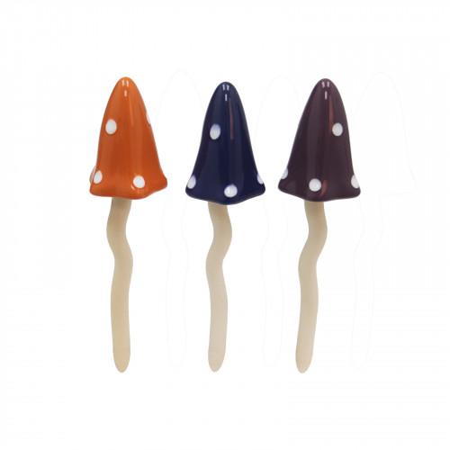 No.PT5012 Small Coloured Polka Dot Ceramic Tinkling Toadstools