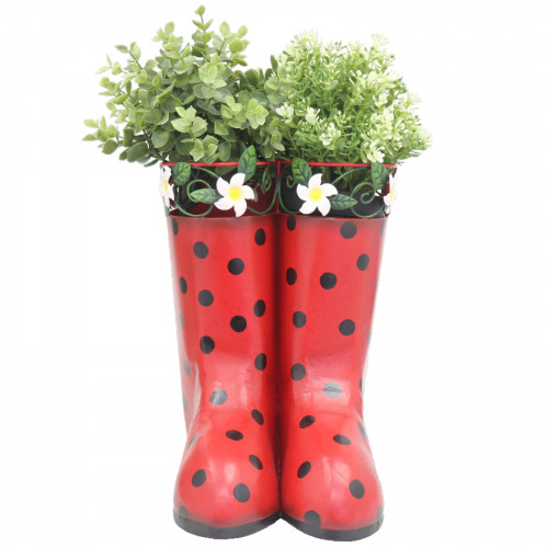 Hanging Pair of Wellies Metal Planter - Red