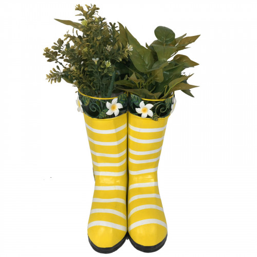 No.PW2053 Hanging Pair of Wellies Metal Planter - Yellow with Stripes