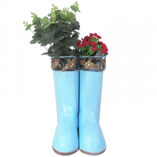 Hanging Pair of Wellies Metal Planter - Blue