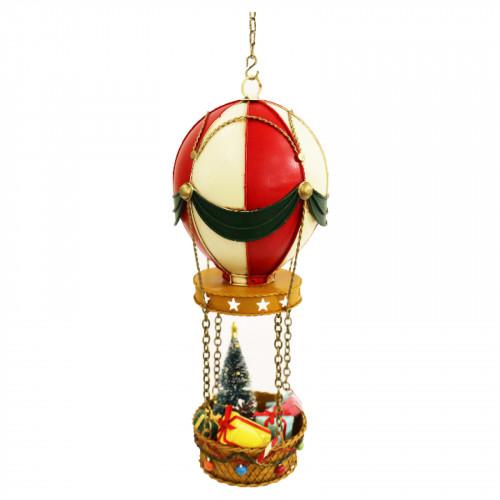No.PXM3071 LED Vintage Xmas Hot Air Ballon - Red/White