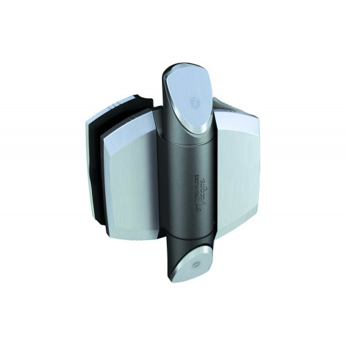 """No.TCAV1BSS D&D TruClose Vizage Hinges (Brushed Zirconium Trims) - for Glass Gates and 50mm (2"""") Diameter Posts"""